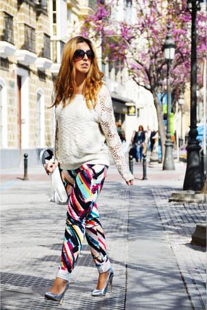 black H&M jeans - white suiteblanco sweater - ivory Zara bag