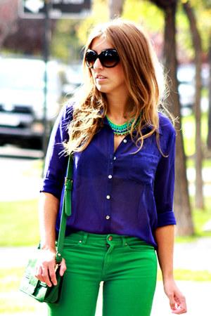 green H&M jeans - blue vintage shirt - green vintage bag