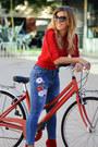 Blue-romwe-jeans-red-zara-sweater