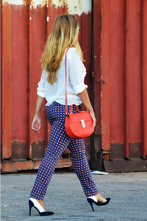 white Zara shirt - navy Zara heels - navy Zara pants