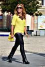 Black-mustang-boots-yellow-h-m-sweater-black-topshop-leggings
