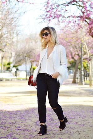 white shein blazer - black Levis jeans