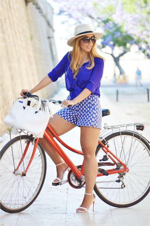 ivory Zara bag - blue vintage shirt - blue Sfera shorts - white Zara heels