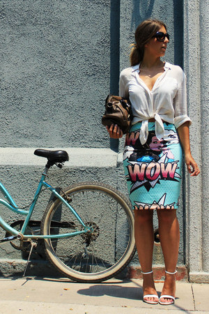 aquamarine vintage skirt - white Mango blouse - white Zara heels