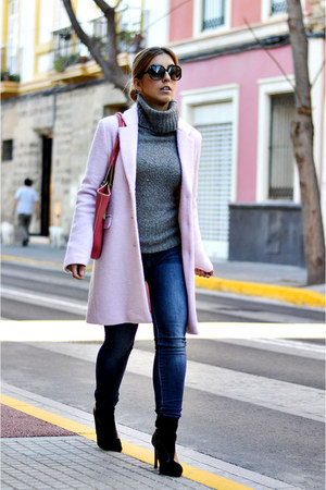 bubble gum Bershka coat - black Zara boots - blue Sfera jeans