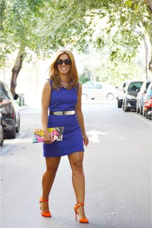 orange Zara heels - blue H&M dress - bubble gum suiteblanco necklace