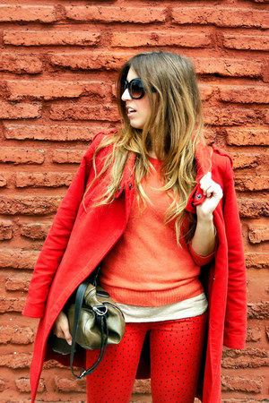 red Mango coat - red Falabella jeans - orange H&M sweater
