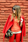Red-mango-coat-red-falabella-jeans-orange-h-m-sweater