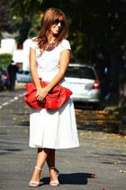 red martina-K bag - ivory Topshop skirt - white H&M t-shirt - white Zara heels