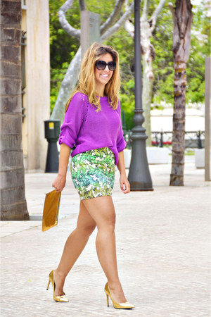 magenta H&M sweater - green Sfera skirt - gold Zara heels