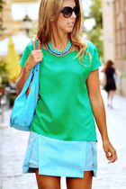 green suiteblanco blouse - aquamarine mouton bag - aquamarine Lounge necklace