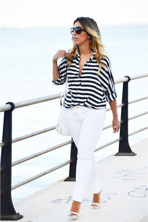 white Sfera jeans - black Rosegal shirt - white Zara bag - white Zara heels