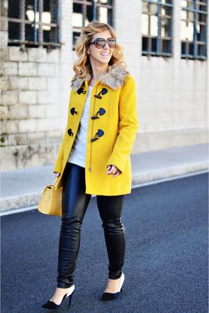 yellow H&M coat - black Zara pants