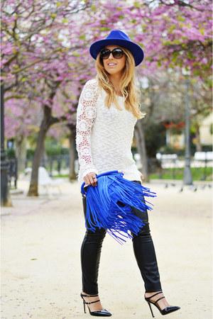 blue BLANCO hat - white BLANCO sweater - black Zara pants