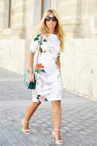 white Zara dress - dark green Parfois bag - cream Zara heels