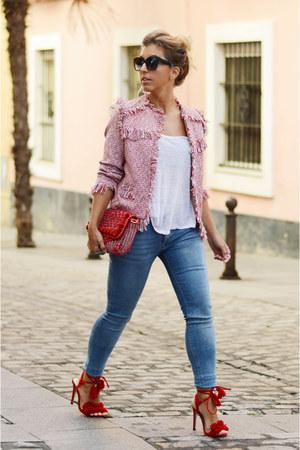 red shein jacket - red Zara bag