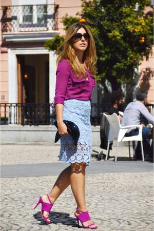 magenta Bershka shirt - magenta Zara heels