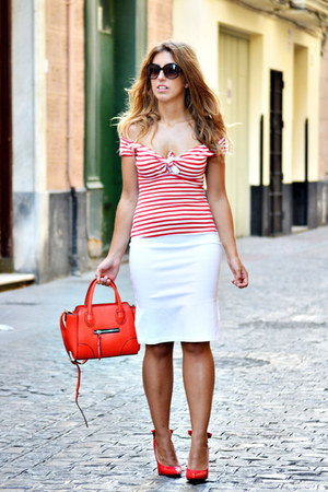 red Parfois bag - red dressale heels - red BLANCO t-shirt