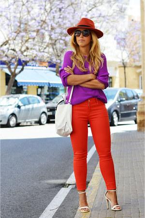 white Zara bag - carrot orange Mango jeans - carrot orange Promod hat
