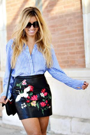 black Stradivarius skirt - sky blue Sfera shirt - black zaful bag
