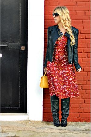 black Mango boots - brick red Easy Wear dress - black Zara jacket