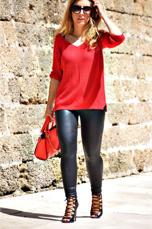 red Sfera sweater - black Topshop leggings - red Parfois bag - black Zara heels