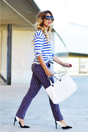 cream Zara bag - blue H&M sweater - blue Zara pants - black Zara heels