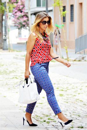 white Zara bag - red Sfera shirt - blue Sfera pants - black Zara heels
