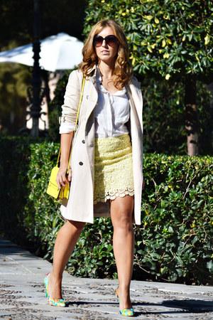 beige Zara coat - white Mango shirt - yellow Zara bag