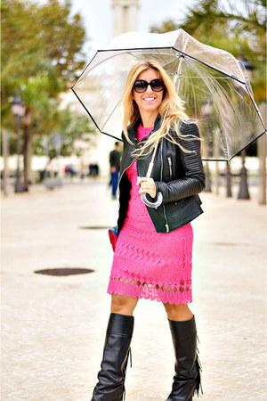 black Mango boots - hot pink Derhy dress - black Zara jacket