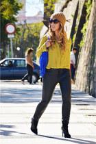black Zara boots - black Zara pants - mustard H&M blouse