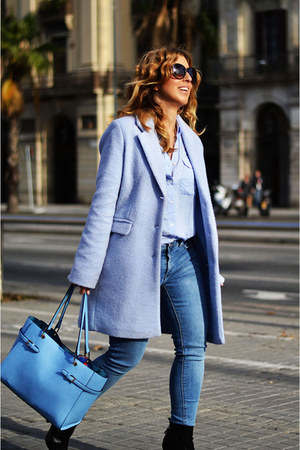sky blue Bershka coat - sky blue Mango jeans - light blue Mango shirt