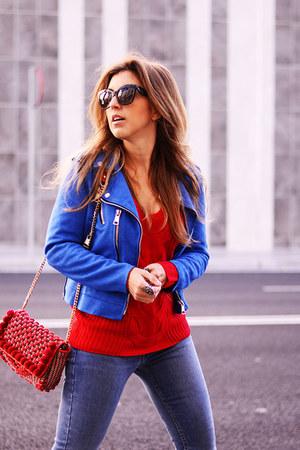 turquoise blue zaful jacket - red zaful sweater