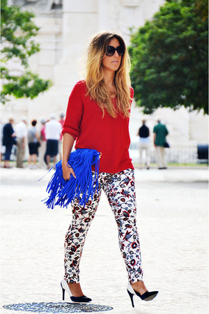 blue Zara pants - red Sfera sweater - blue Zara heels