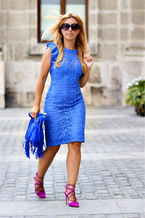 turquoise blue Zara dress - hot pink Zara heels