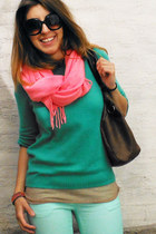 aquamarine H&M jeans - aquamarine H&M sweater - brown Misako bag
