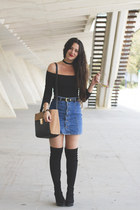 pull&bear skirt - Mary Paz boots - Primark bag - H&M top