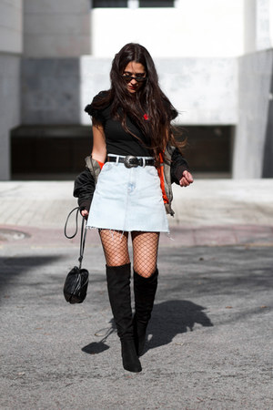 Lola Blue boots - Maray Alvarez shirt - ray-ban sunglasses - pull&bear skirt