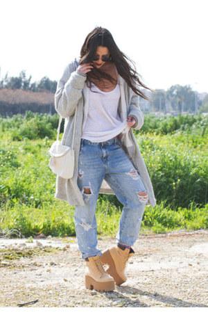 Lamoda boots - Zara jeans - Stradivarius bag - H&M cardigan