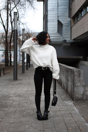 H&M cardigan - GAMISS boots - pull&bear pants