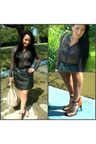 H&M blouse - F&F belt - vintage skirt - Zara heels