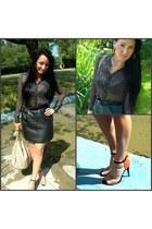 H&M blouse - F&F belt - vintage skirt - Zara heels