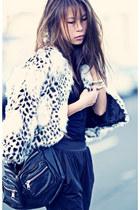 black Jessica Simpson shoes - white storetscom coat