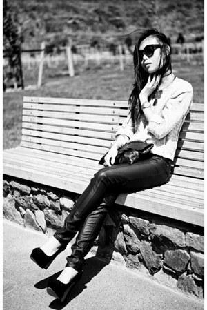 black leather pants - black Topshop heels - turquoise blue ring