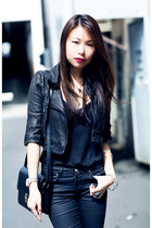 black cropped leather Kookai jacket