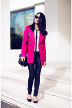 black BCBG heels - hot pink coat
