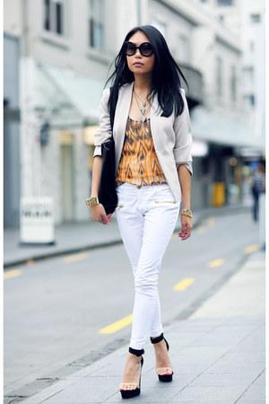 orange Joie top - ivory H&M blazer - black bag - black Jeffrey Campbell heels