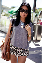 brown bag - heather gray Topshop t-shirt