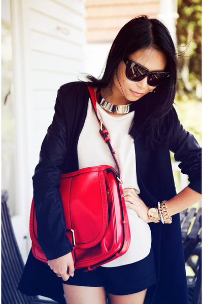 red bag - black coat