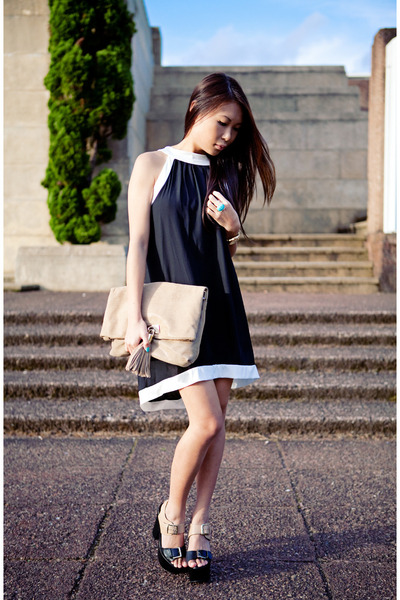 black new look dress - camel purse